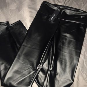 Pleather stretch pants